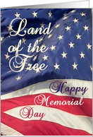 Happy Memorial Day/Land of the Free on Flag card