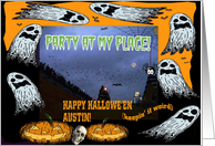 Happy Halloween Austin TX. Party Invitation card