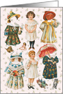Vintage Paper Doll Set with Dresses Matching Hats All Occasion blank card