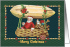 Santa Traveling in a Christmas Airship Merry Christmas, Peace and love card
