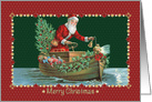 Santa Traveling in a Boat to Deliver Decorated Tree and Children Gifts card