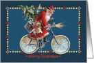 Santa Riding His Bicycle with Toys and Christmas Tree Merry Christmas card