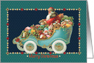 Santa Driving his Motor Car with Toys and Presents card