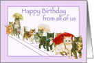 Kitties Walking Together in a Group Vintage Happy Birthday card