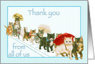 Kitties Walking Together a Group Vintage All Occasion Thank You card