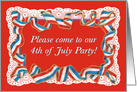 4th of July Patriotic Ribbon on White Lace Vintage Party Invitation card