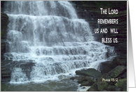 Waterfall The Lord Remembers Us card