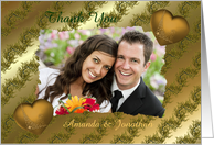 Golden Hearts And Flowers Wedding Thank You for Your Gift Photo Card