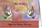 20th Anniversary / Mom & Dad - Colorful Abstract Flowers and Doves card