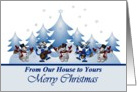 From Our House/ Merry Christmas - Winter Scene with Snowmen and Deer card