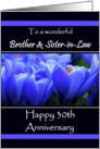 30th Anniversary / To Brother and Sister-in-Law - Vibrant Blue Crocus card