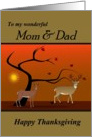 Mom / Dad - Happy Thanksgiving - Nature Scene of Deer at Sunset card