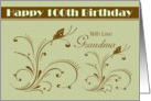 Grandma /100th Birthday - Digital Flourish with Butterflies card