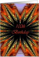 100th / Happy Birthday - General - Fractal Star Burst card