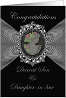 Wedding Congratulations Son & Daughter-in-law / Cameo on a Silver Fractal card