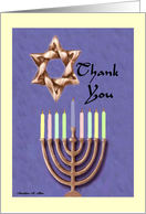 Thank You / Star of David,Scroll, Menorah, card