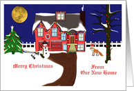 Merry Christmas - From our new home / House-trees-decorated-snow card