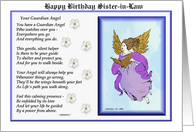 Happy Birthday Sister-in-Law / Guardian Angel - poetry - flowers card