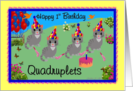 Happy 1st Birthday - Quadruplets card