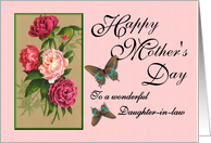 Happy Mother's Day - To a wonderful Daughter-in-law / Peonies & Butterflies card