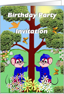 Birthday Party Invitation for Twins card