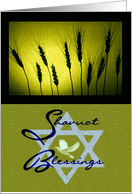 Shavuot Blessings / Golden Wheat & Star of David with Dove card