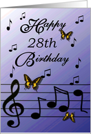 Happy 28th Birthday / Blue - Musical Notes & Butterflies card
