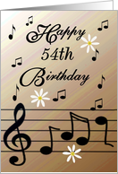 Happy 54th Birthday / Brown - Musical Notes & Flowers card