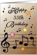 Happy 55th Birthday / Brown - Musical Notes & Flowers card