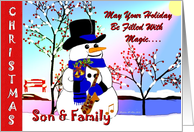 Christmas ~ Son & Family ~ Snowman With Sax card