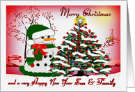 Merry Christmas ~ Son & Family ~ A Snowman's Christmas Blessings card