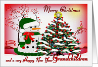 Merry Christmas ~ Grandchildren ~ A Snowman's Christmas card