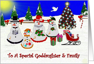 Christmas ~ Goddaughter & Family ~ A Family of Meadow Snowmen card