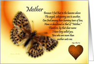 Get Well ~ Mother / Quote ~ Fractalius Butterfly / Heart card