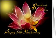 Wedding Anniversary / Sweetheart ~ Year Specific 56th ~ Elegant Lotus & Butterfly card