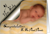 A New Baby Congratulations / Proud Parents ~ Newborn Baby on a blanket card