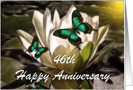 Anniversary ~ Year Specific 46th ~ Water Lily & Butterflies card