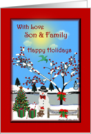 Happy Holidays ~ Son & Family ~ Whimsical /Snowman / Christmas Decorated Landscape card