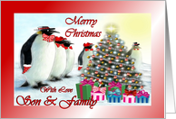 Merry Christmas ~ Son & Family ~ Whimsical Penguins / Christmas Tree / Gifts card