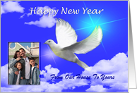 Happy New Year / Religious ~ Add Your Photo / Add Text ~ Dove in flight card