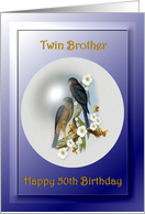 50th / Twin Brother / Birthday ~ Collared Sparrow Hawks card