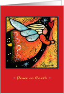 Peace on Earth, Flying Angel with Heart card