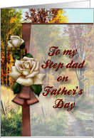 Father's Day Step Dad-Rose on Ribbon over Countryside Scene card