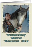 Celebrating Native American Day, Indian Woman & Horse card
