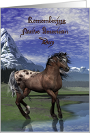 Remembering Native American Day, Horse against Mountains card