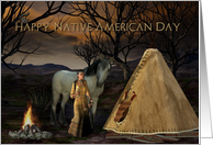 Happy Native American Day, Native American Camp, Tipee, Horse card