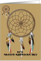 It's Native American Day, dreamcatcher, feathers card