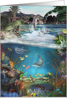 Happy Birthday-Dolphins, Ocean, Anemones, Sealife, Underwater card