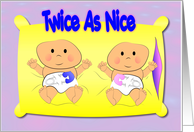 Twice As Nice Birth Announcement card