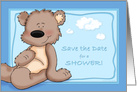 Save the Date for A Baby Shower, Baby Boy Teddy Bear Card